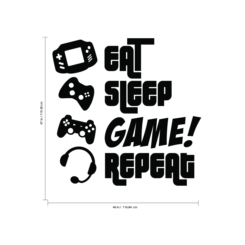 47* x 46* EAT GAME Gamers Wall Art Large Vinyl Decal Video SLEEP REPEAT