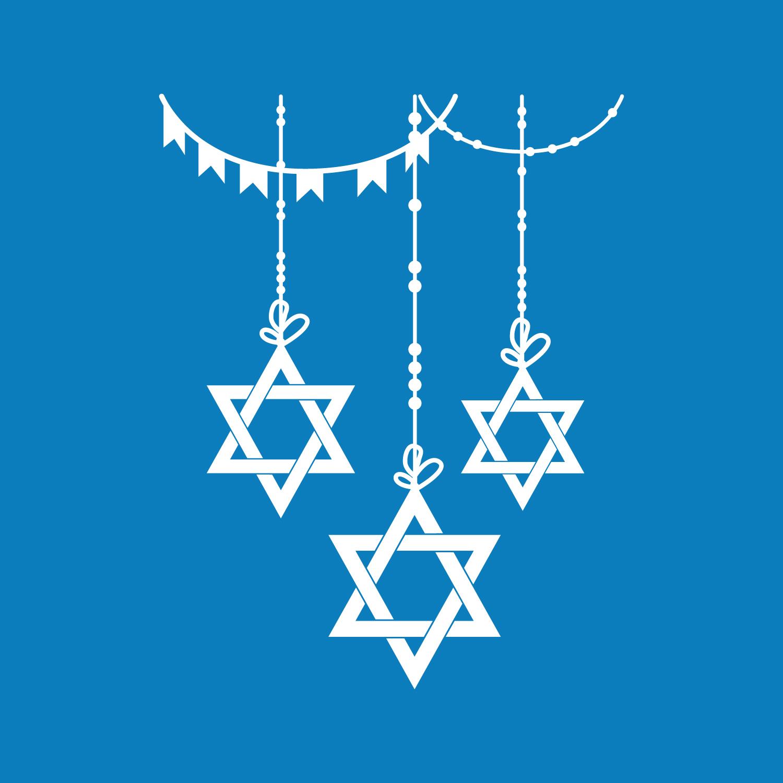 Vinyl Wall Art Decal Jewish Holiday Dec 23* x 38* 3 Hanging Stars of David