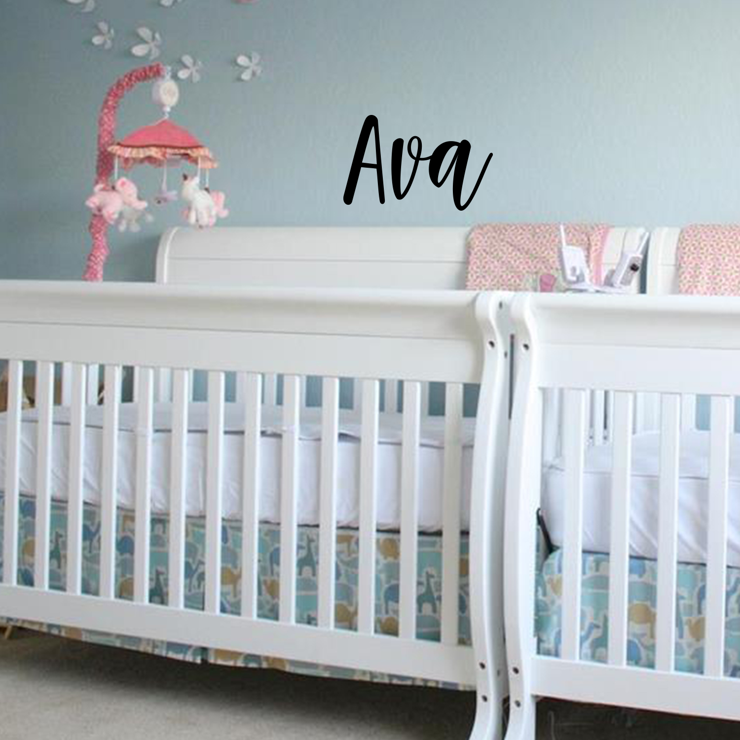 Vinyl Wall Art Decal Girls Custom Name - 'AVA' Custom Text N